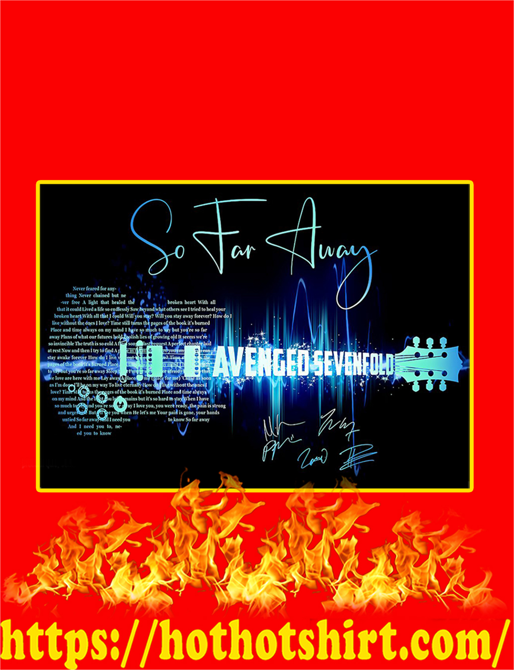 So Far Away Avenged Sevenfold Guitar Signature Poster - A1