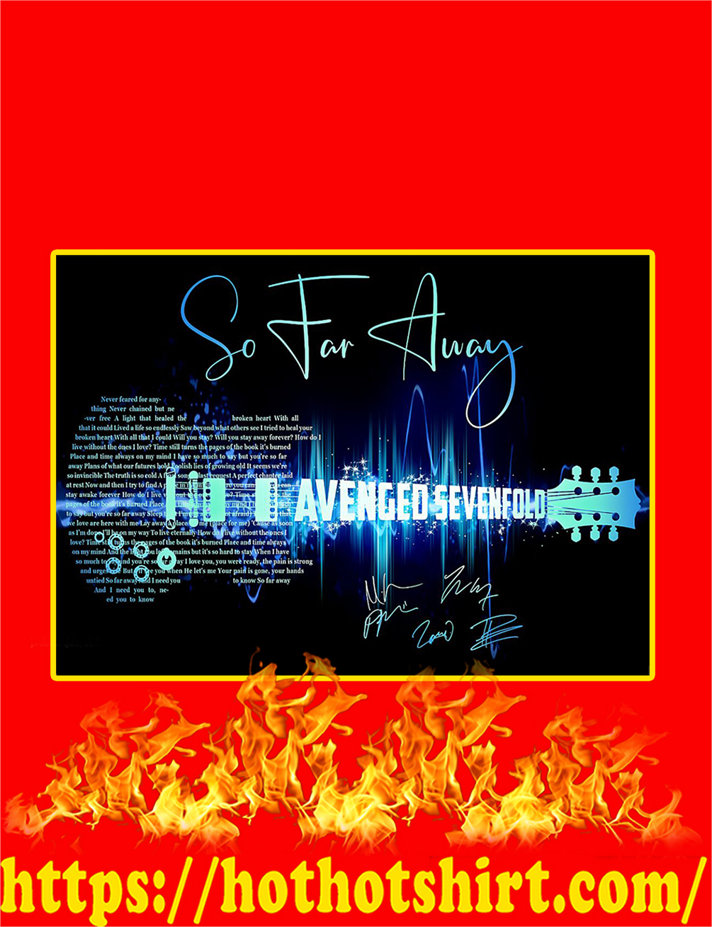So Far Away Avenged Sevenfold Guitar Signature Poster - A3