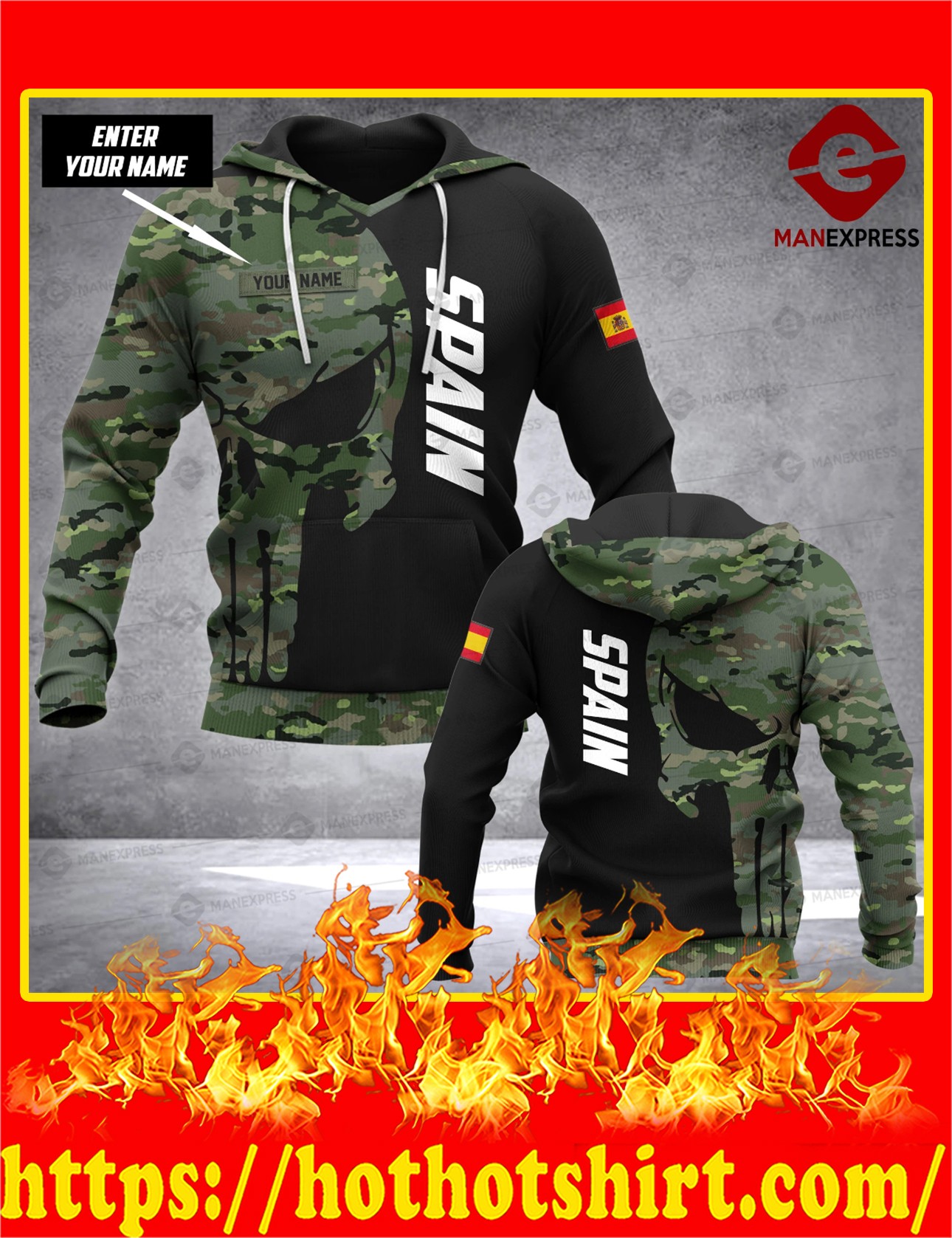 Spain Punisher Skull Camo Customize Custom Name 3d All Over Print Hoodie - Detail