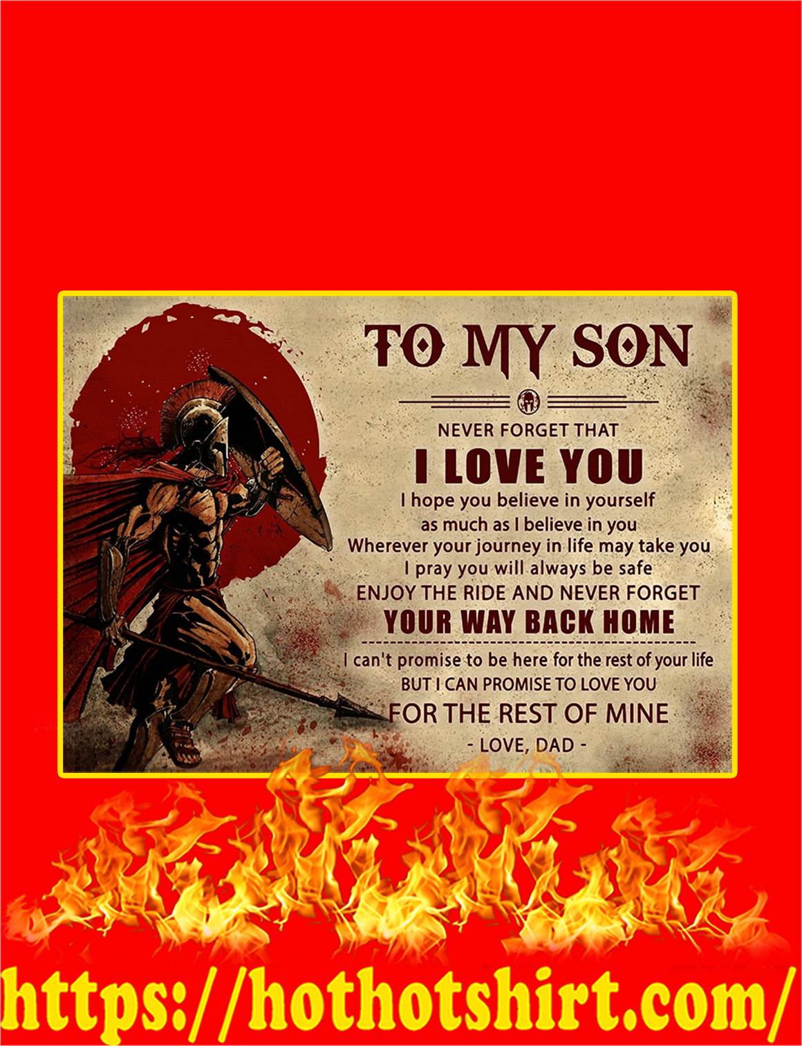 Spartan To My Son Dad Poster - A2