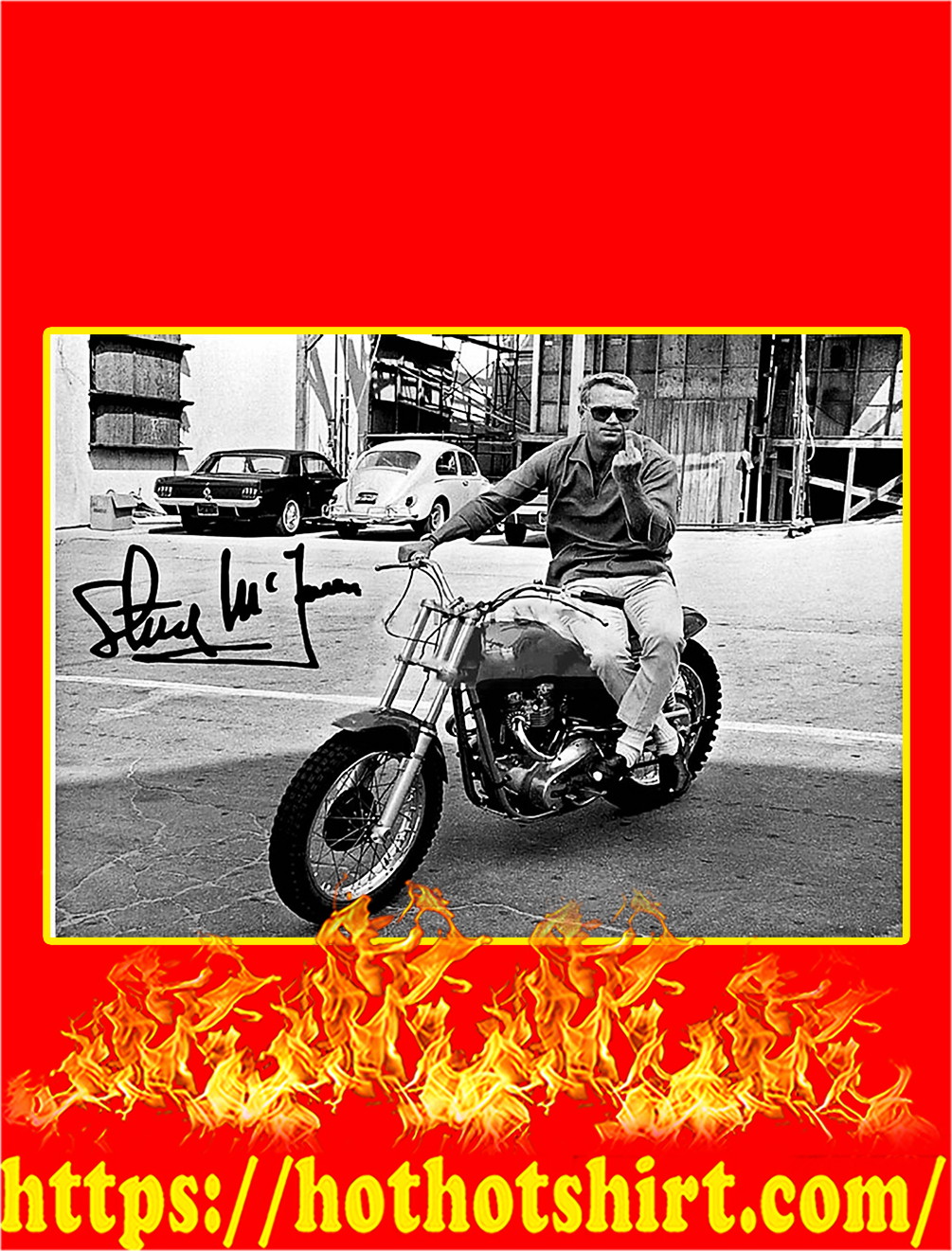 Steve McQueen One Finger Salute Signature Poster - A3