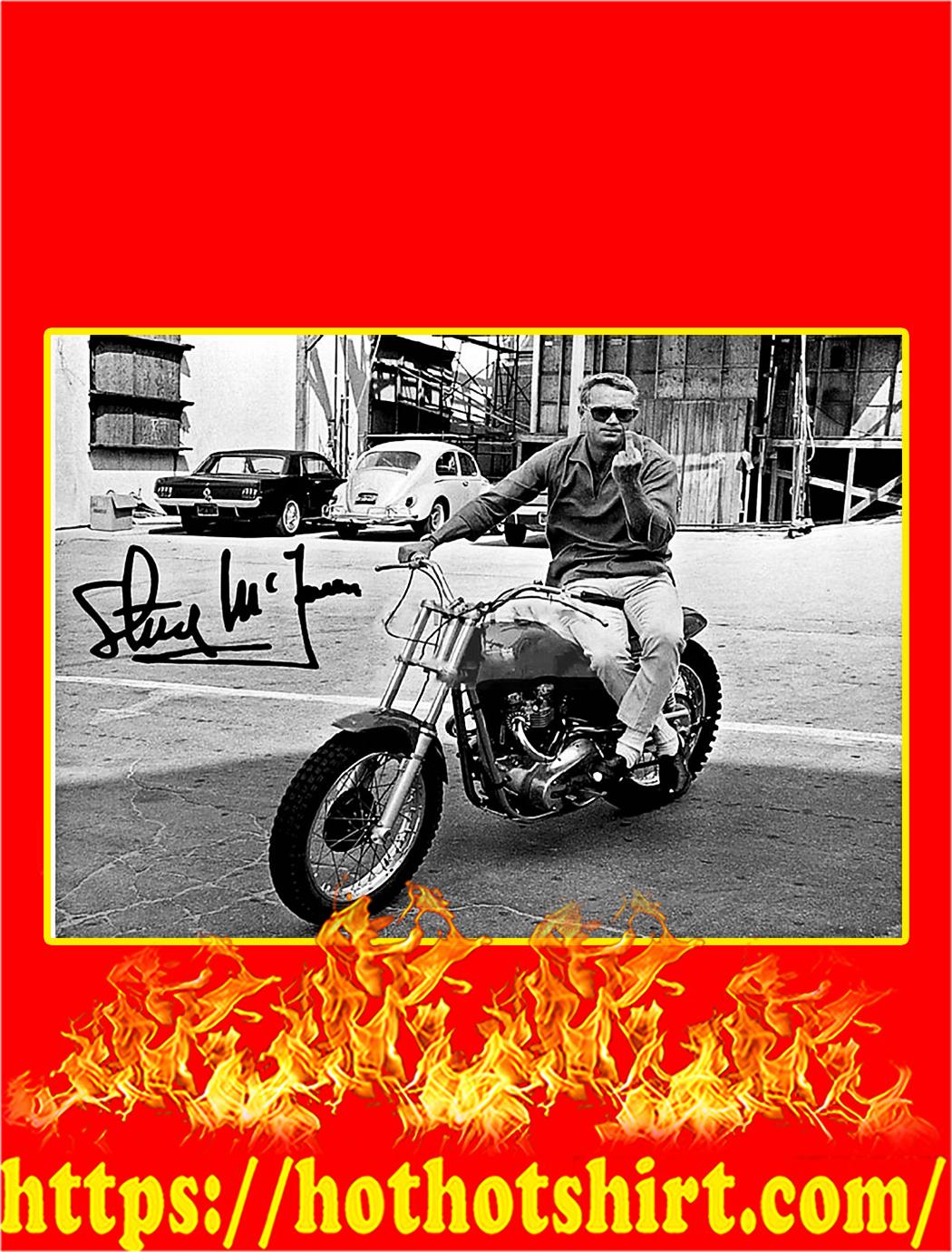 Steve McQueen One Finger Salute Signature Poster