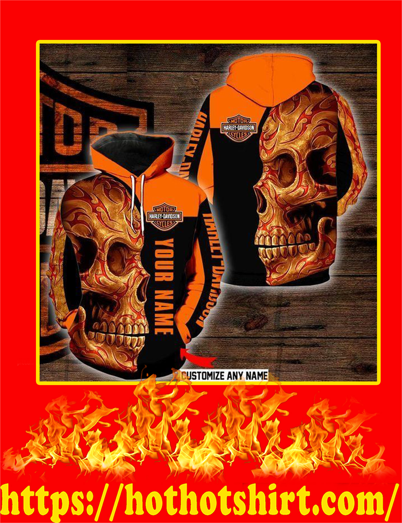 Sugar Skull Harley Davidson Customize Custom Name 3d Hoodie