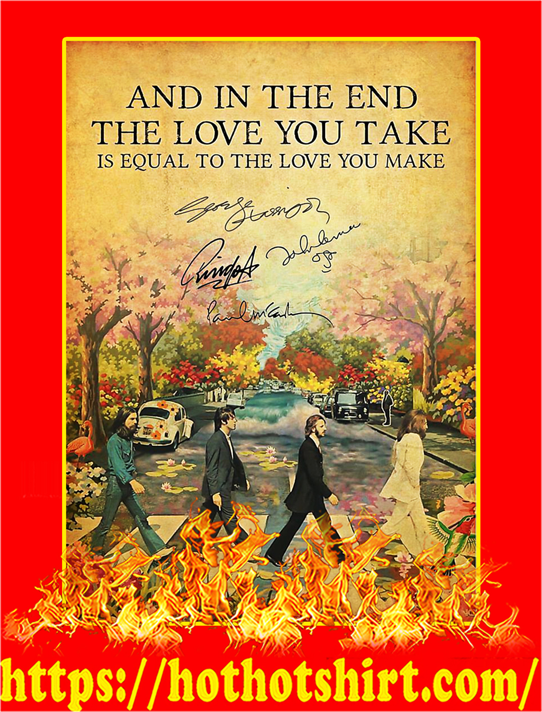 The Beatles And In The End Signature Poster - A4