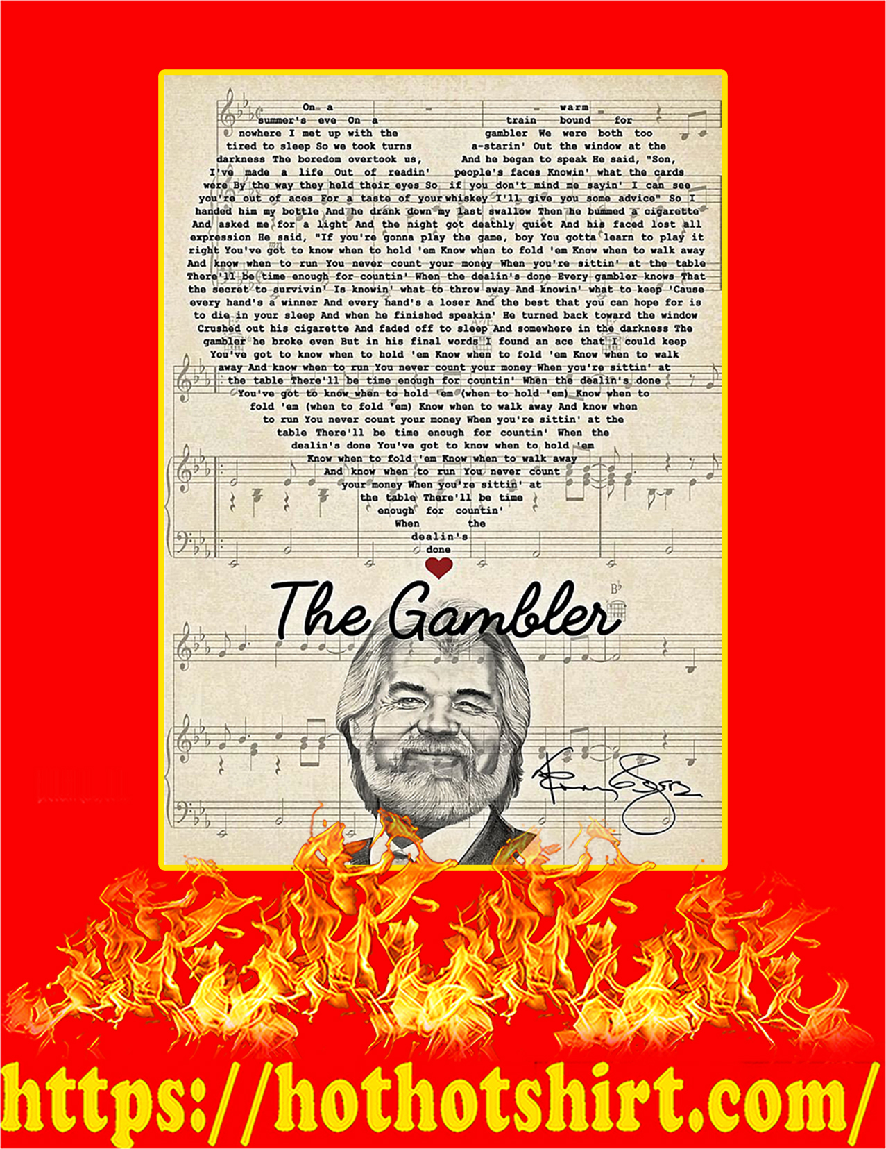 The Gambler Kenny Rogers Signature Poster - A2