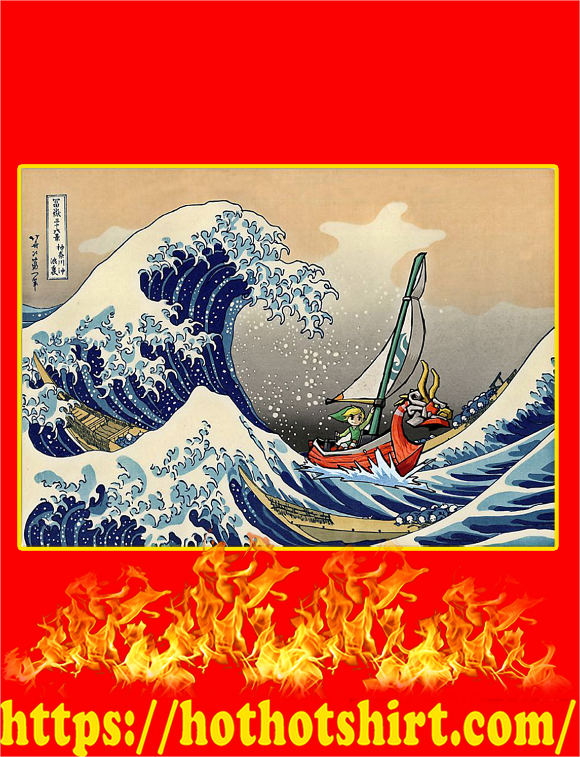 The Great Wave off Kanagawa The Legend of Zelda Poster - A4