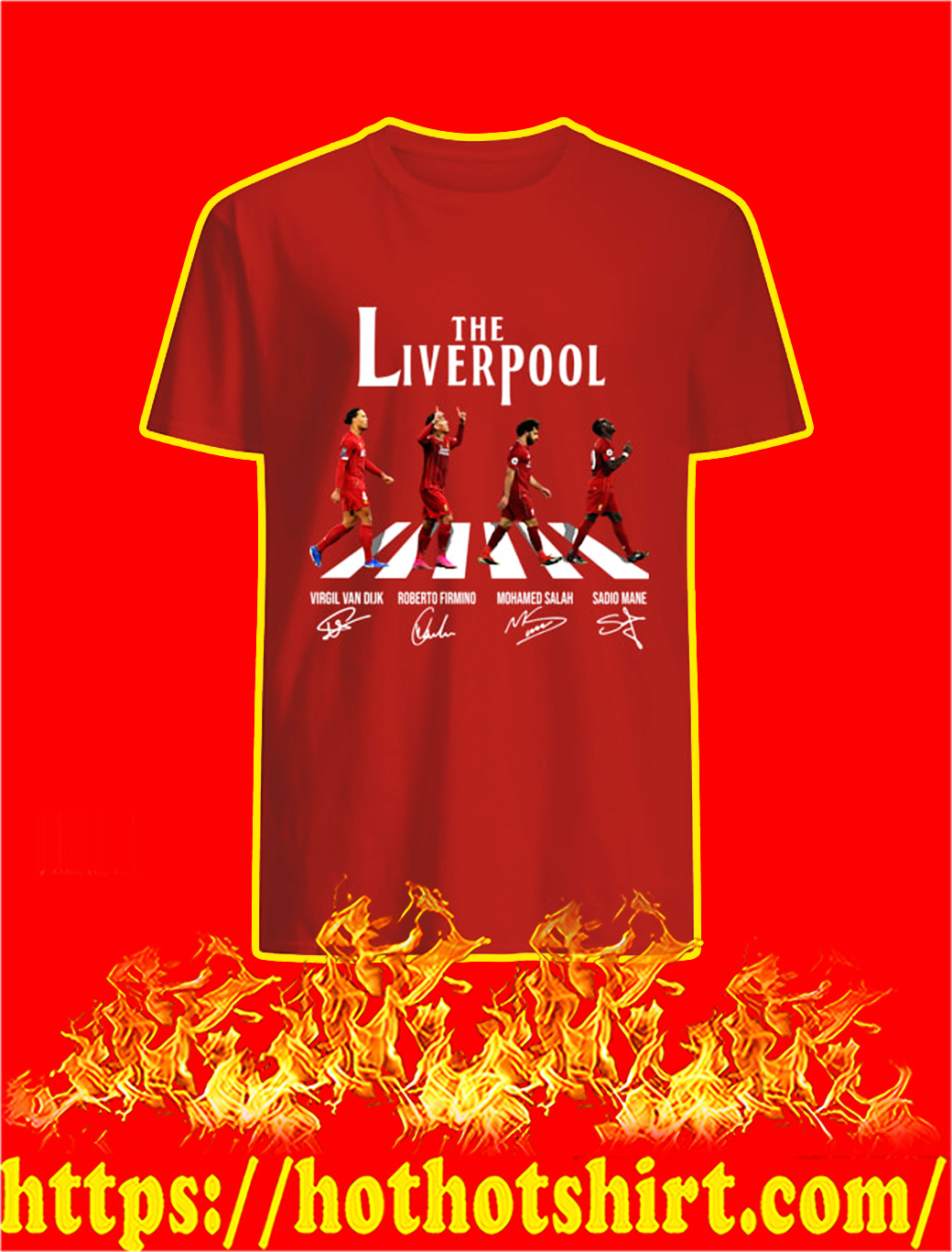 The Liverpool Abbey Road Virgin Firmino Salah Mane Signature shirt