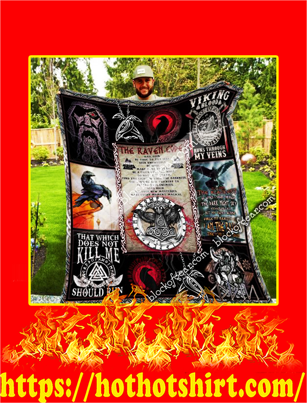 The Raven Code Odin Viking Quilt- queen