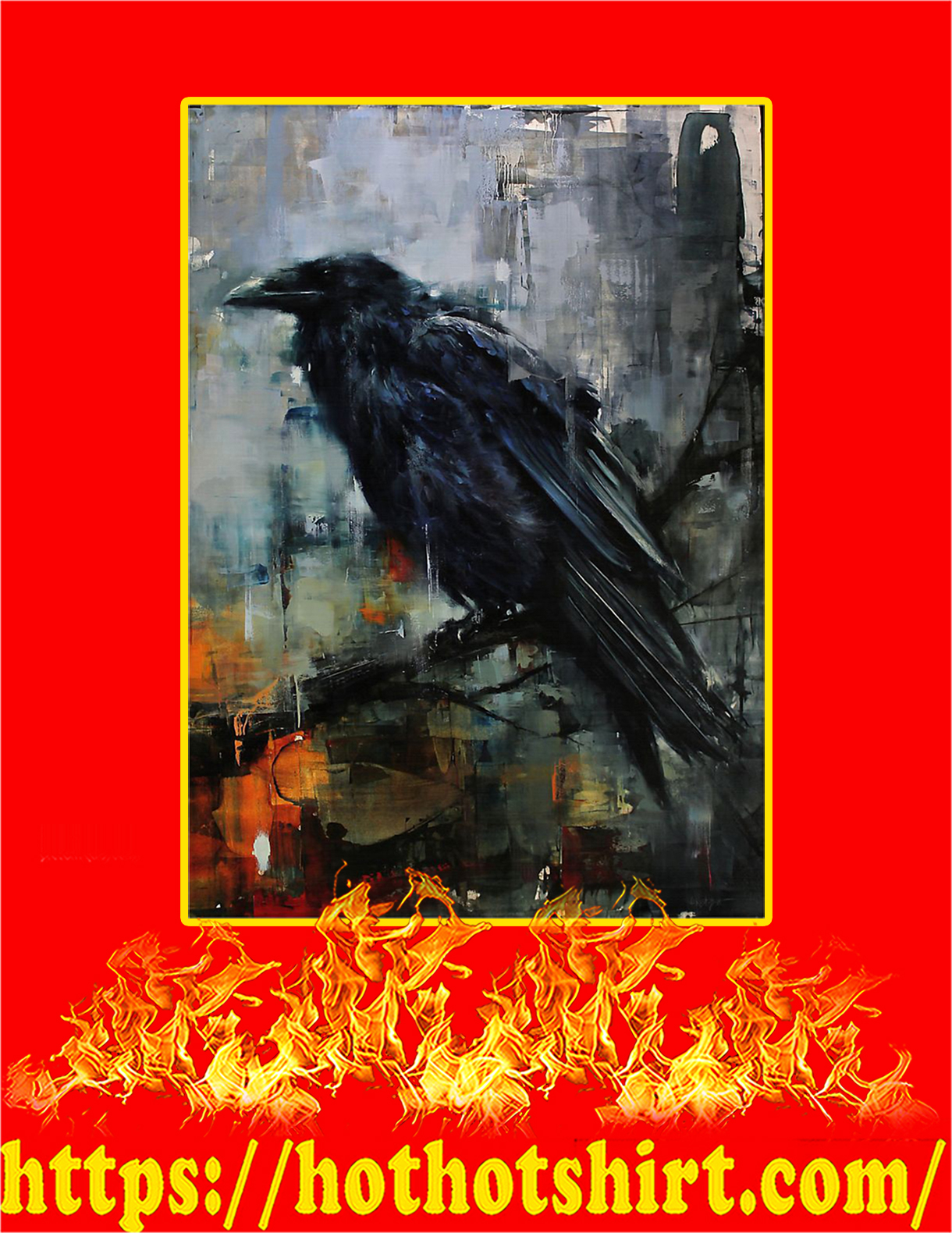 The Raven Watercolor Poster - A4