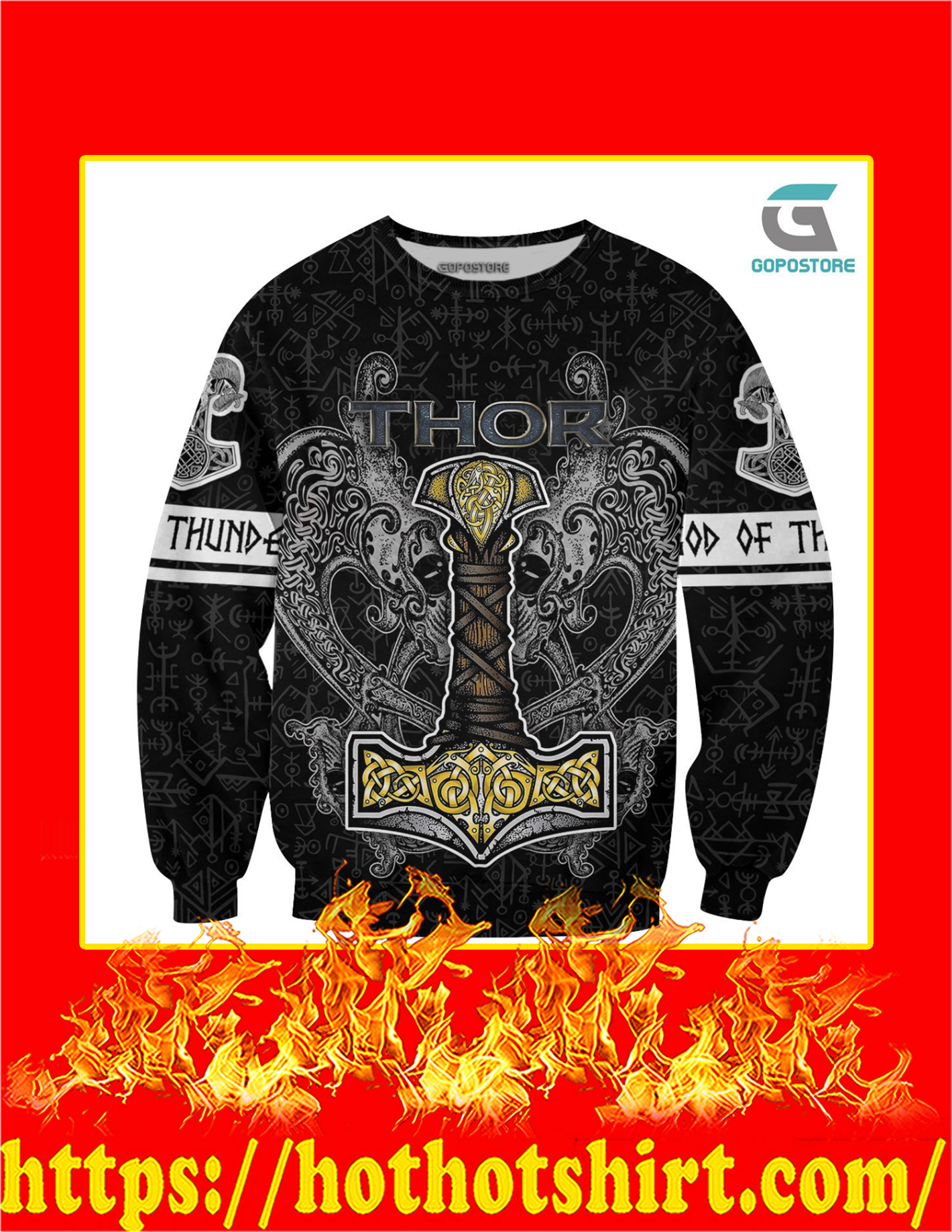 Thor God Of Thunder Viking God 3D All Over Printed Long Sleeved Shirt