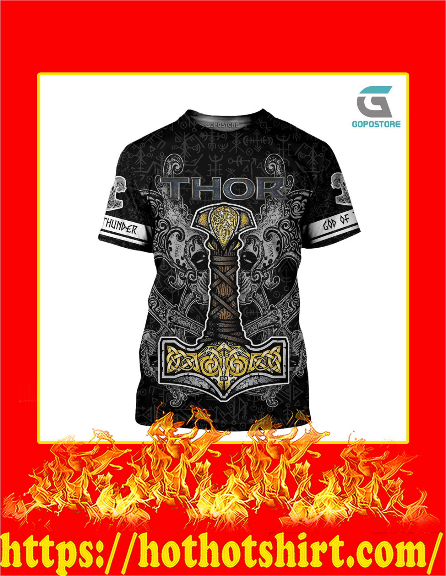 Thor God Of Thunder Viking God 3D All Over Printed T-Shirt