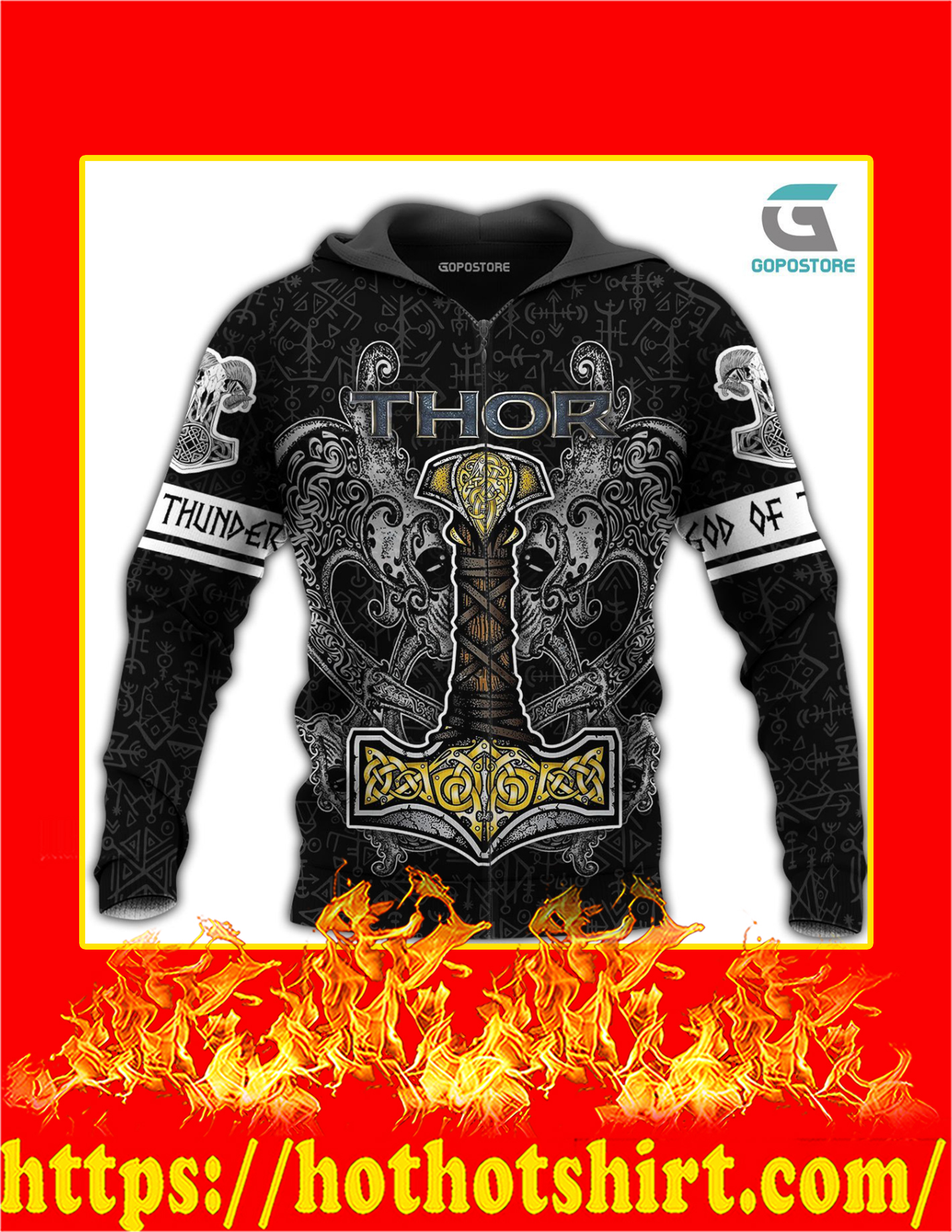 Thor God Of Thunder Viking God 3D All Over Printed Zip Hoodie