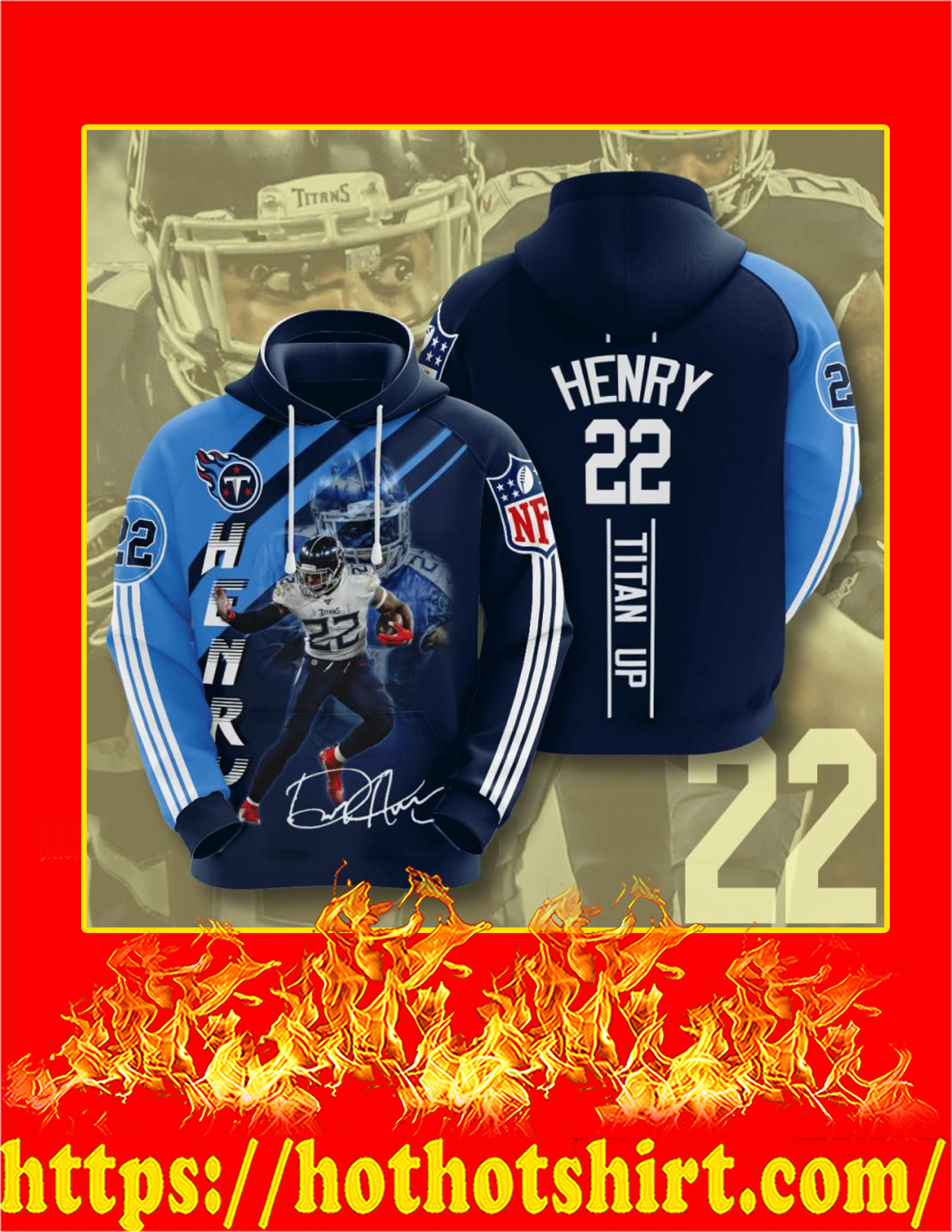 Titan Up Henry 22 Signature 3d Hoodie - Detail