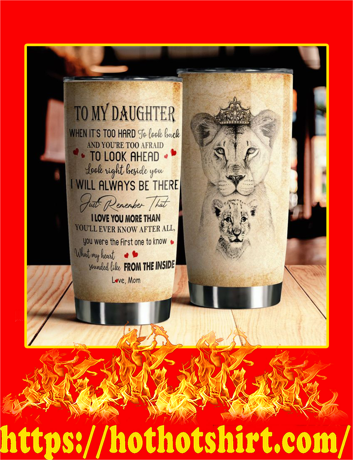 To My Daughter Lion Steel Tumbler