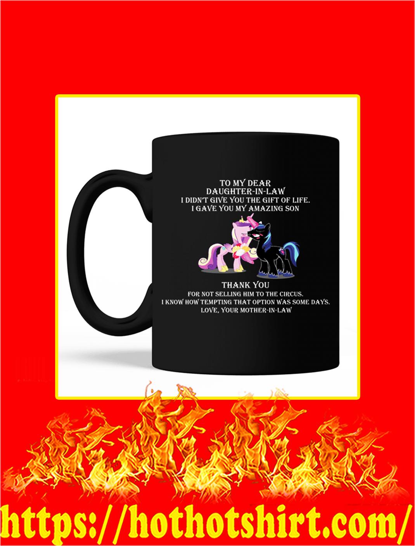 To My Dear Daughter In Law Unicorn Mug- black