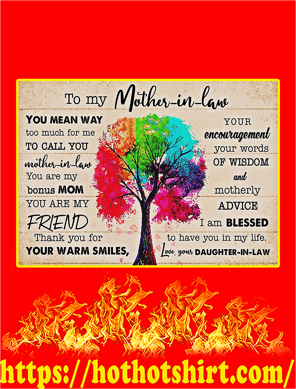 To My Mother In Law Daughter In Law Tree Poster - A1