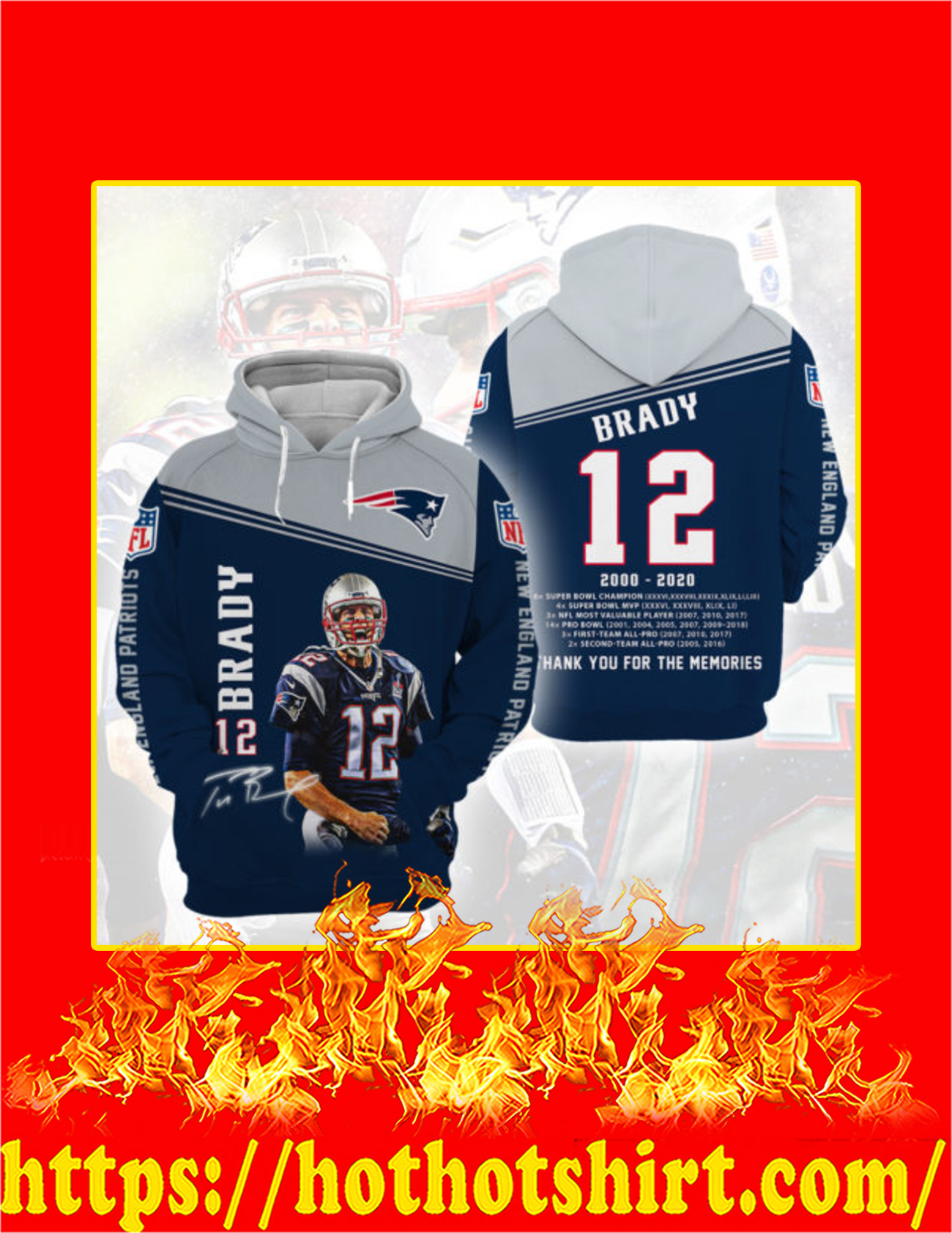 Tom Brady 12 Thank You For The Memories 3d Hoodie - Detail