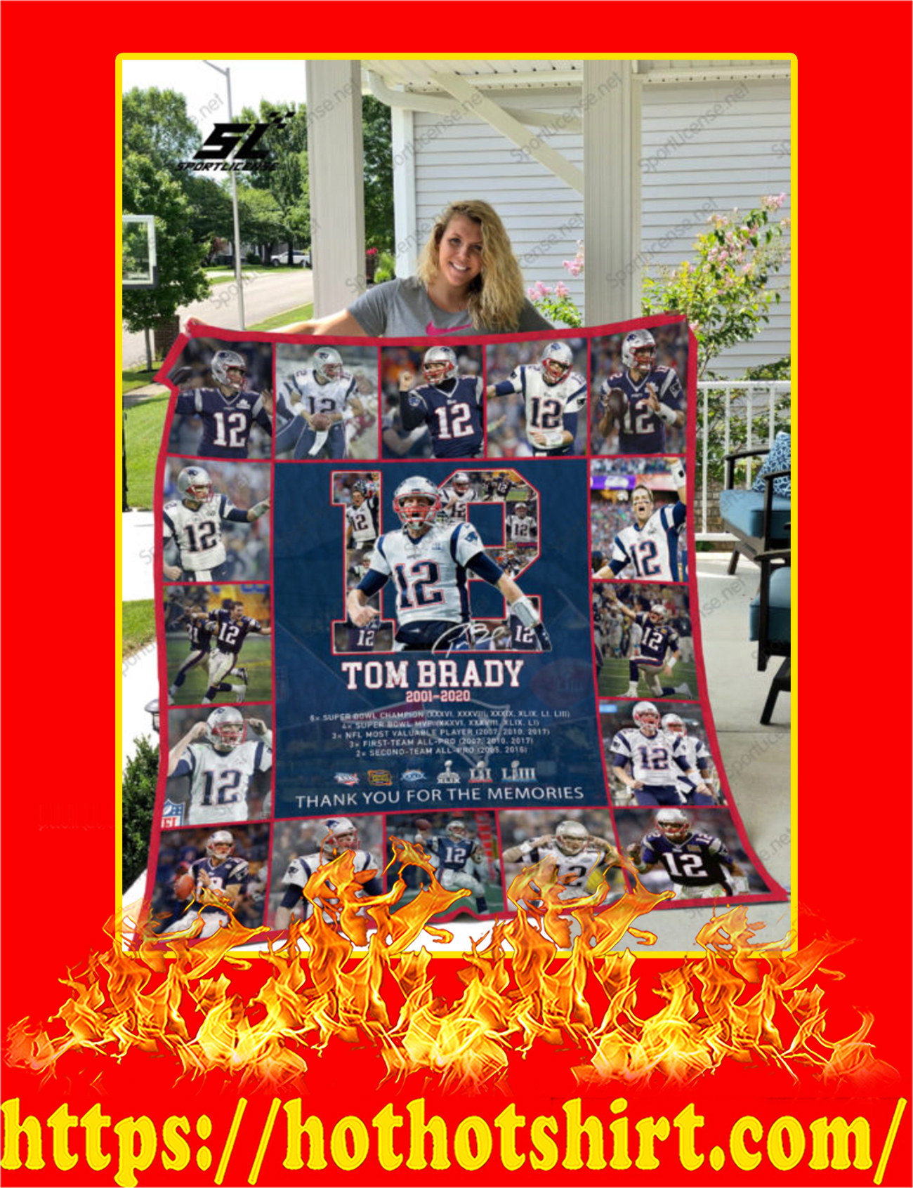 Tom Brady 12 Thank You For The Memories Quilt Blanket - King Size