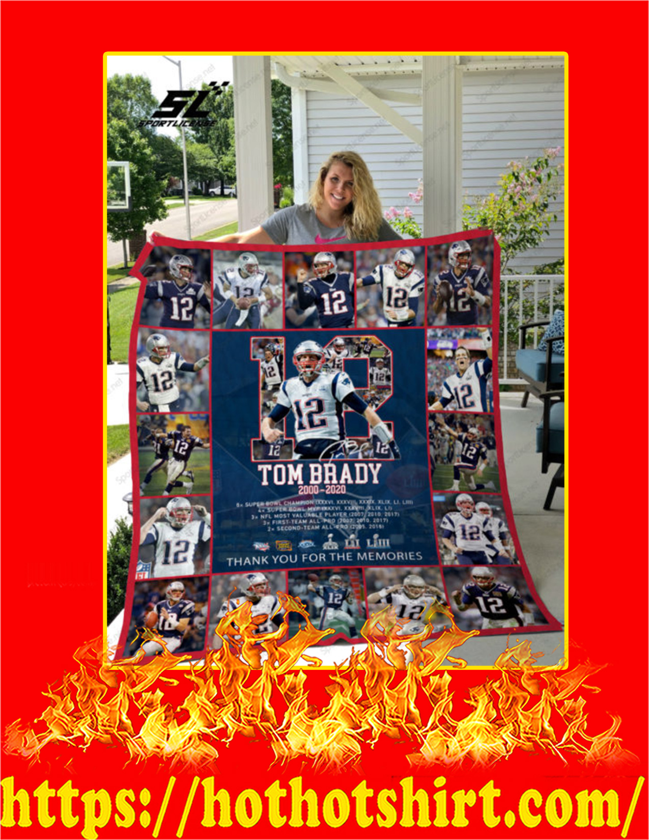 Tom Brady 12 Thank You For The Memories Quilt Blanket - King