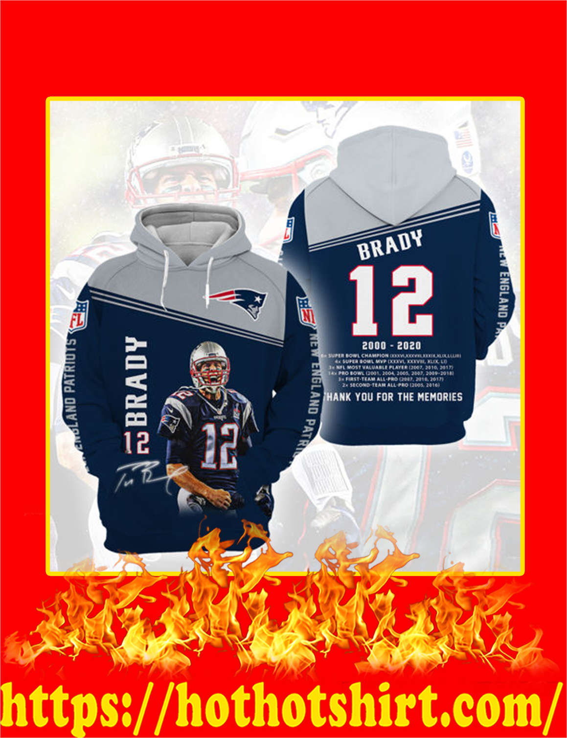 Tom Brady Thank You For The Memories 3d hoodie - L