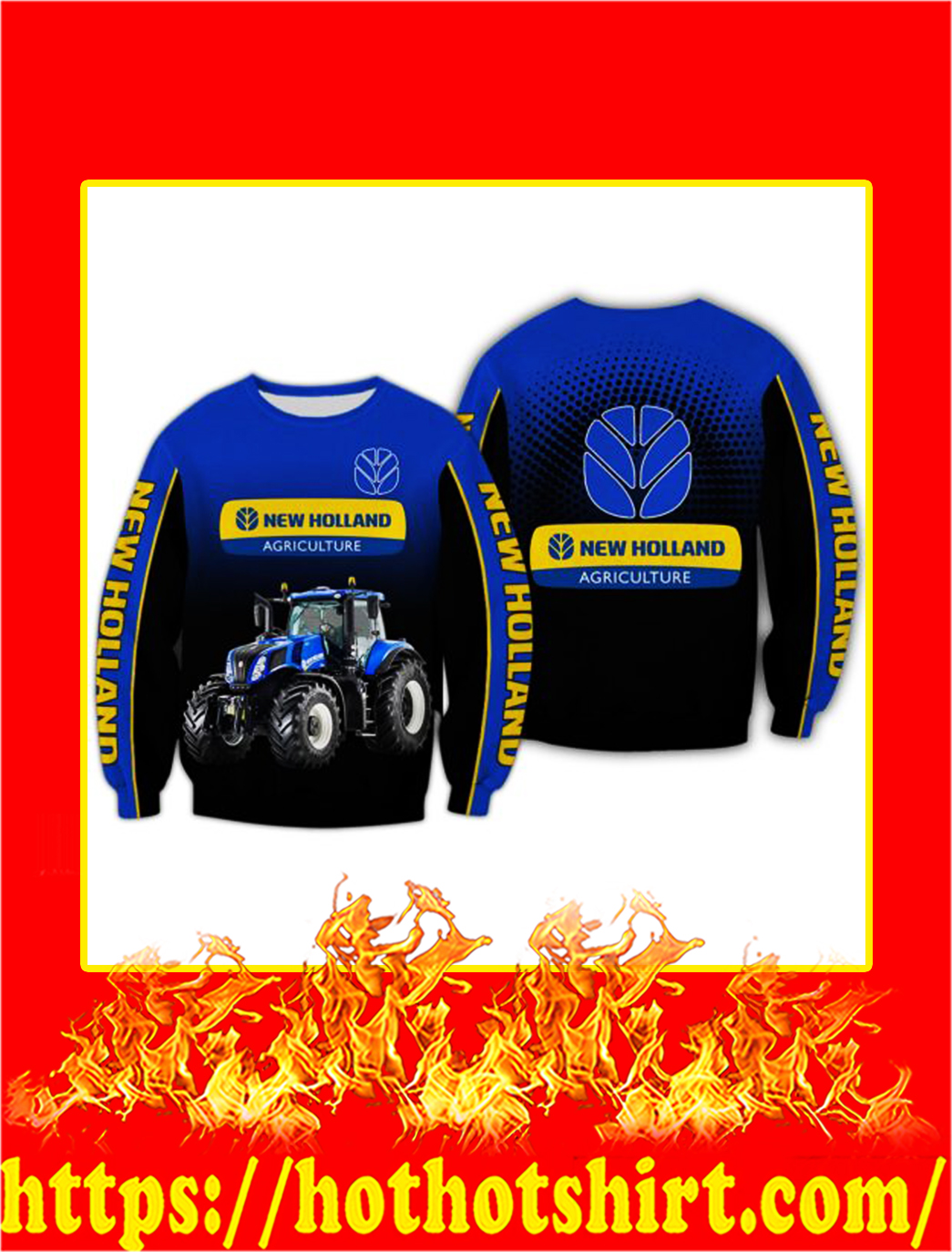 Tractor New Holland Agriculture 3D All Over Printed longsleeve tee