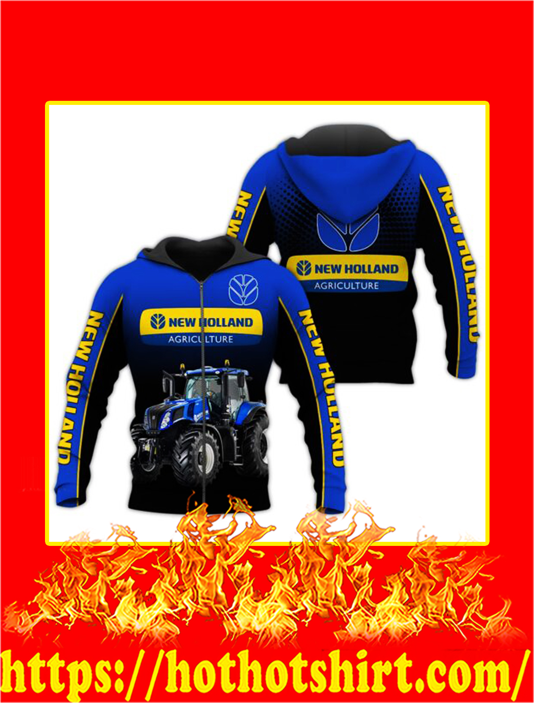 Tractor New Holland Agriculture 3D All Over Printed zip hoodie