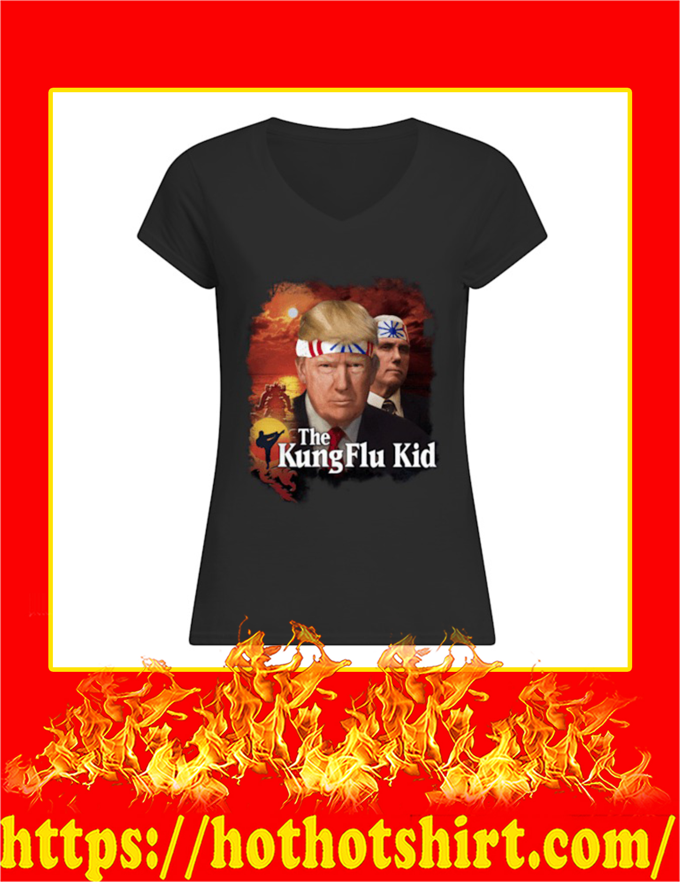 Trump The Kung Flu Kid Women V-Neck