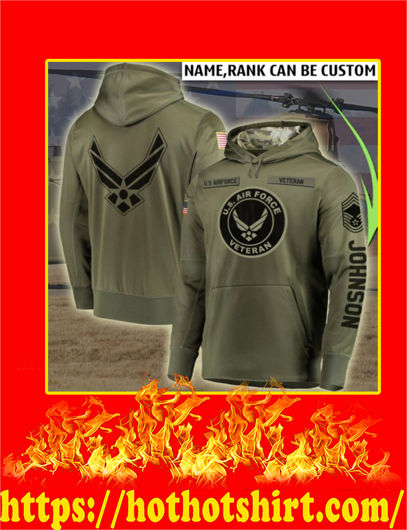 US Air Force Veteran Custom Name 3d hoodie - Detail