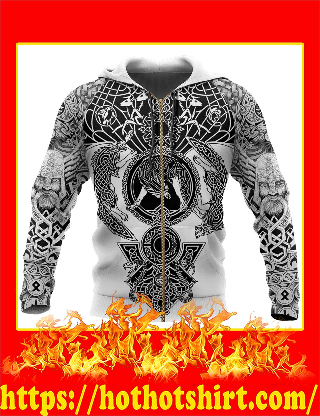 Viking Tattoo All Over Print Zip Hoodie