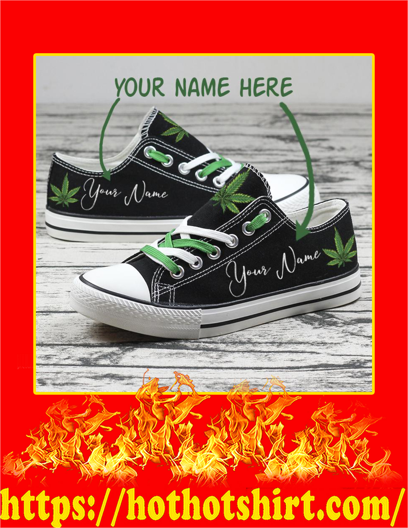 Weed Cannabis Custom Name Personalized Low Top Shoes - Pic 1