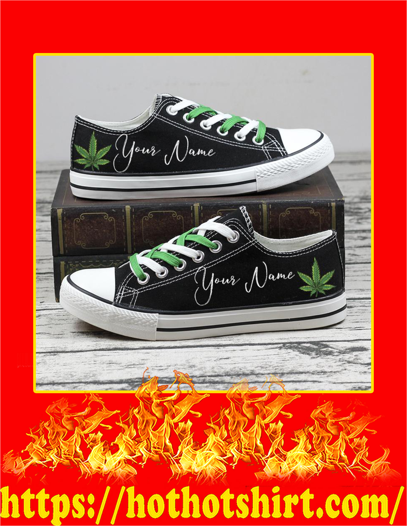 Weed Cannabis Custom Name Personalized Low Top Shoes - Pic 2