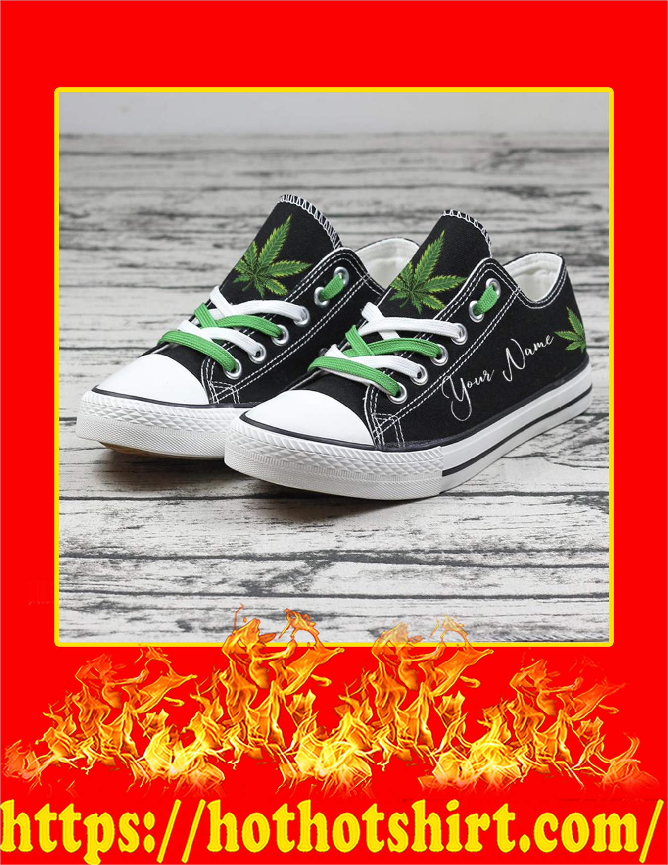 Weed Cannabis Custom Name Personalized Low Top Shoes - Pic 3