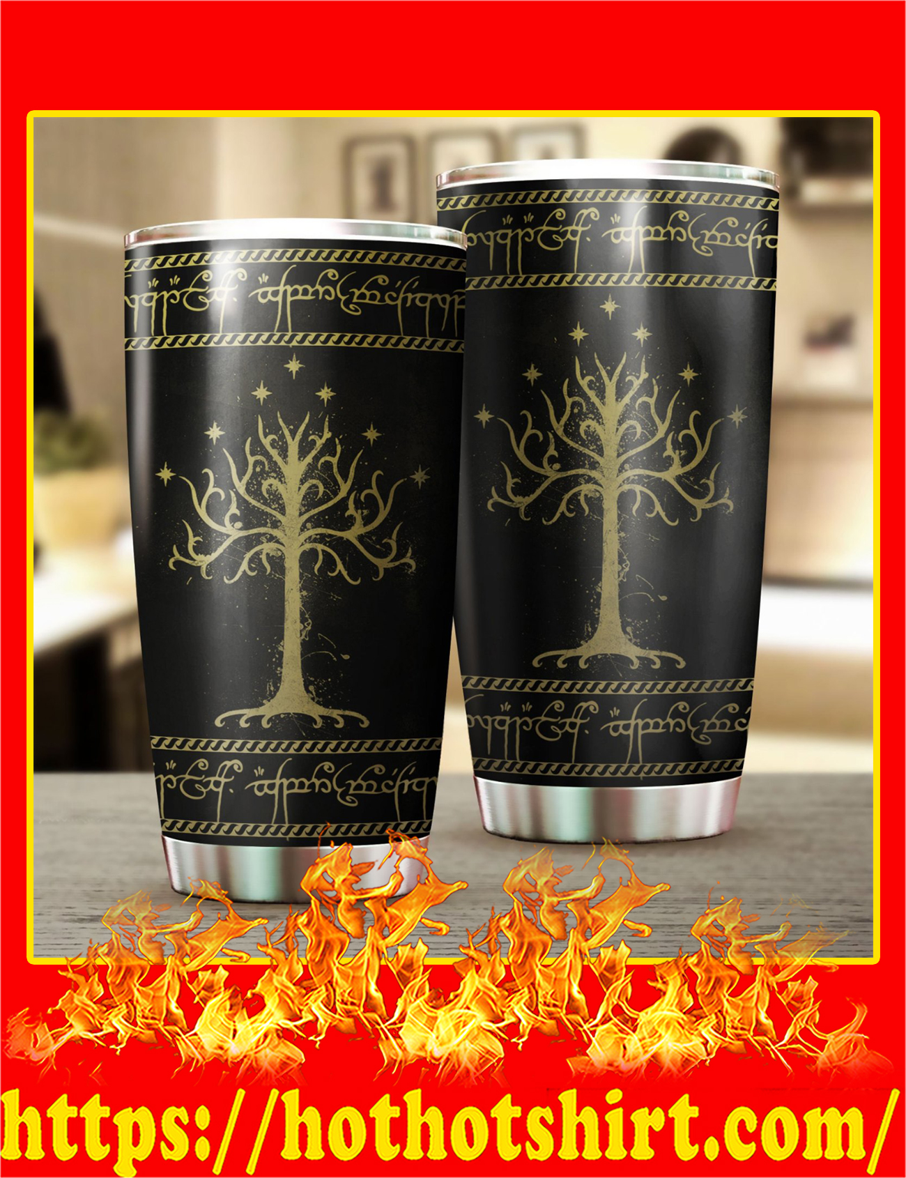White Tree Of Gondor Art Stainless Steel Tumbler - Pic 1
