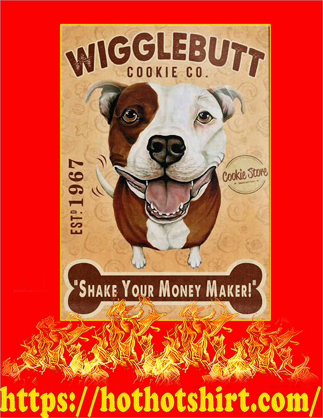 Wigglebutt pit bull dog cookie company poster - A2