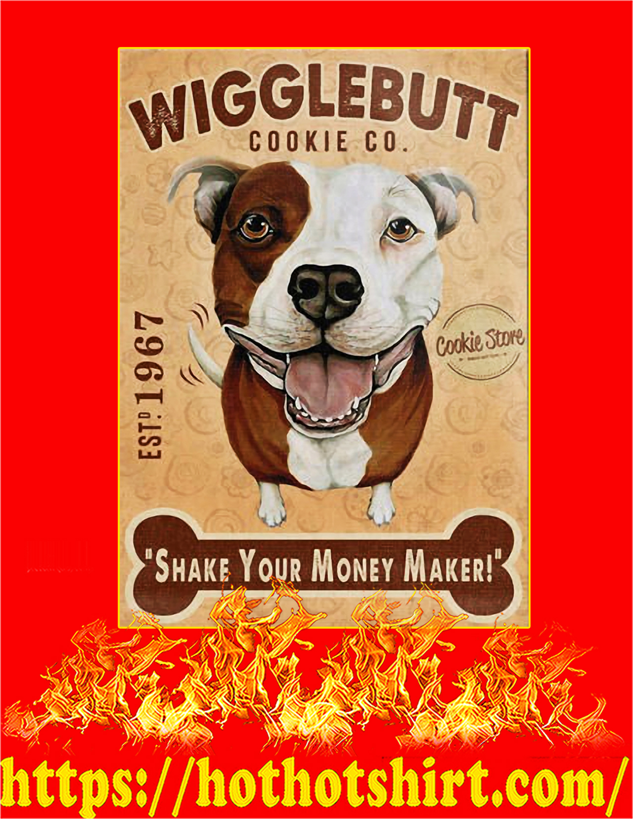 Wigglebutt pit bull dog cookie company poster - A3