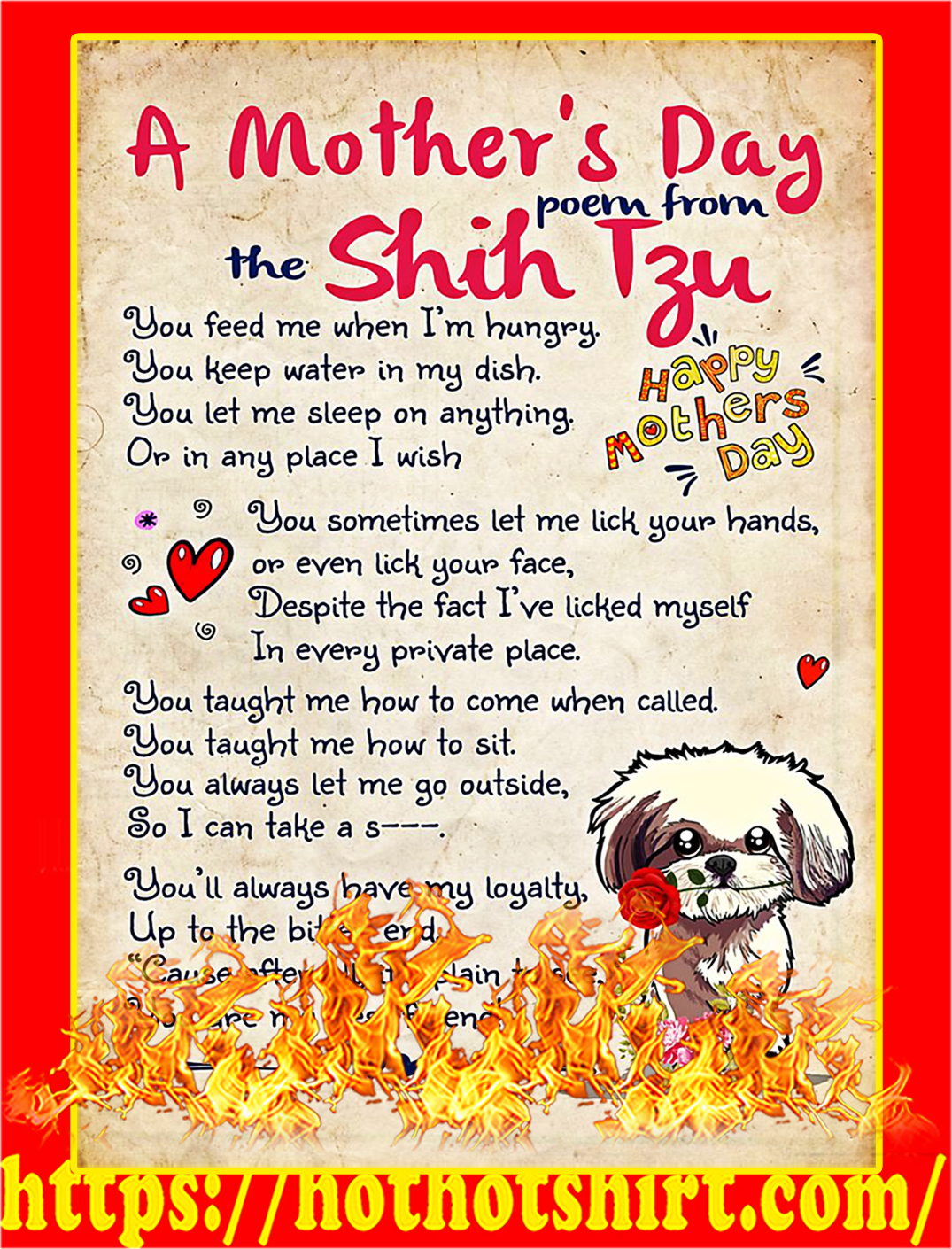A mother's day poem from the shih tzu poster - A1