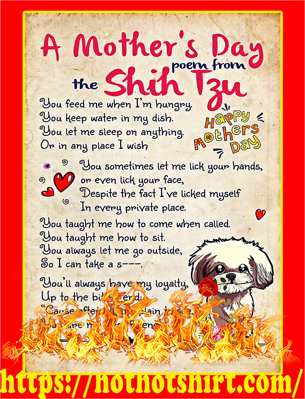 A mother's day poem from the shih tzu poster - A2