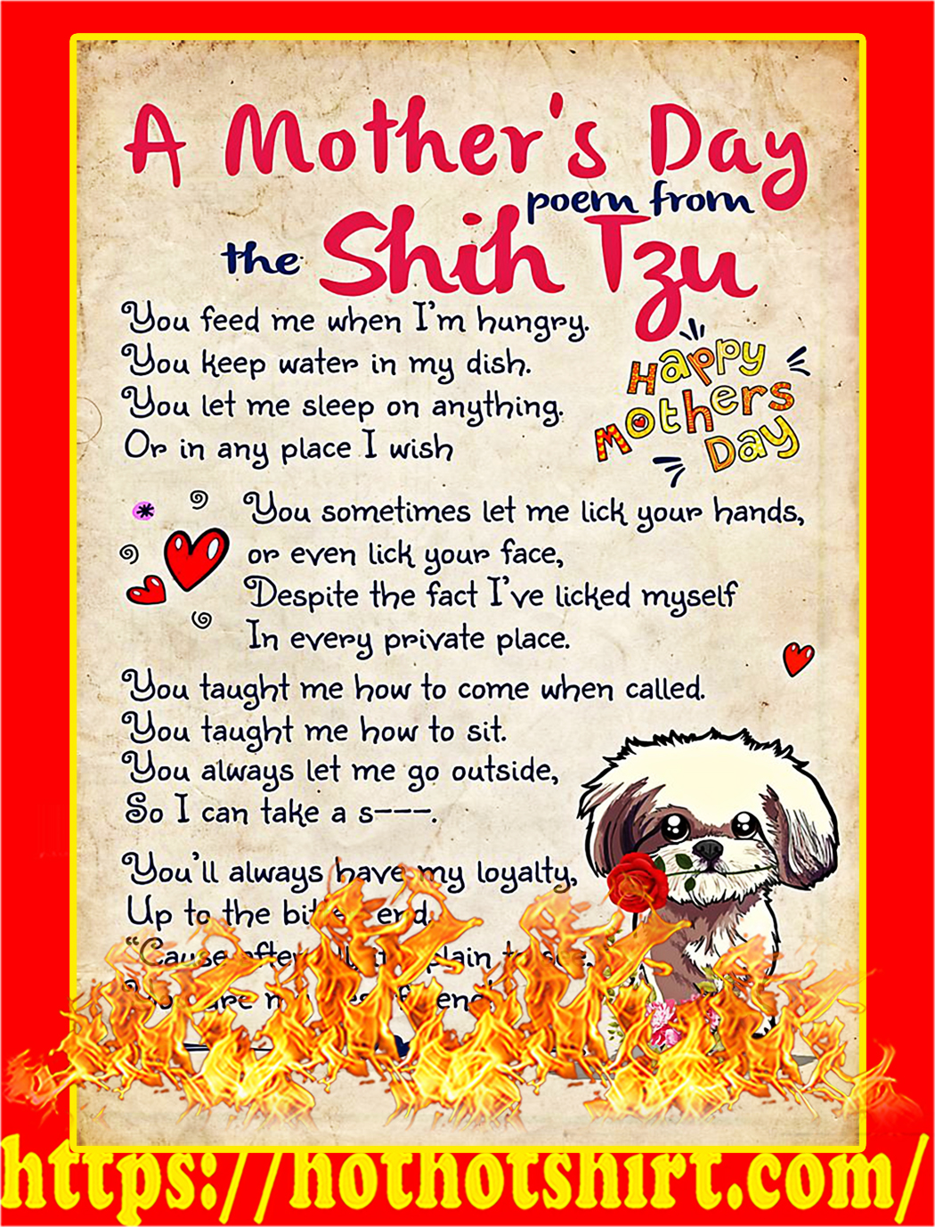 A mother's day poem from the shih tzu poster - A3