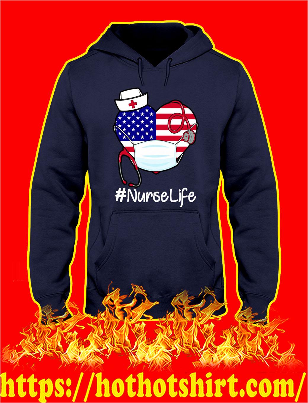American flag heart nurse life hoodie