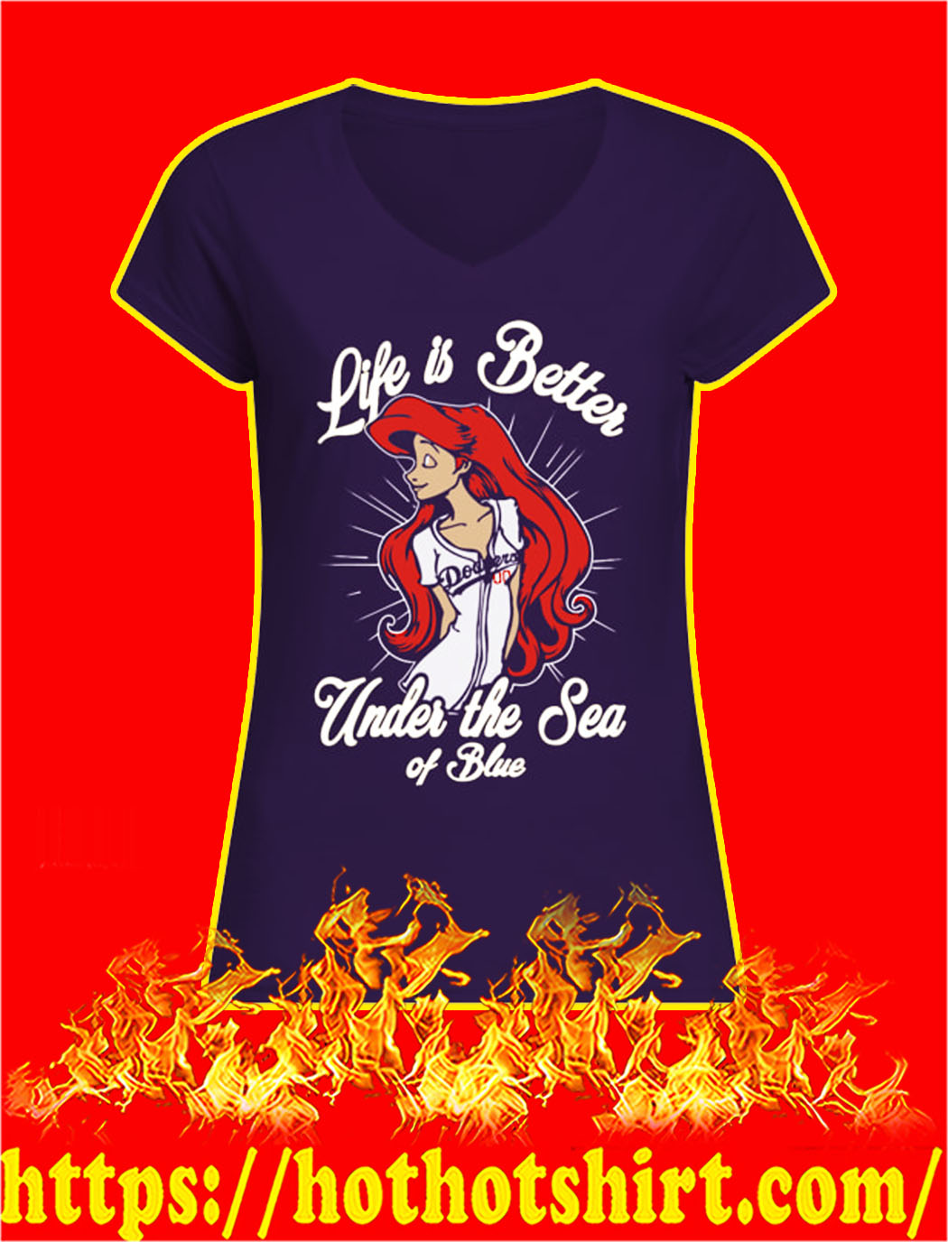 Ariel dodgers life is better under the sea of blue v-neck