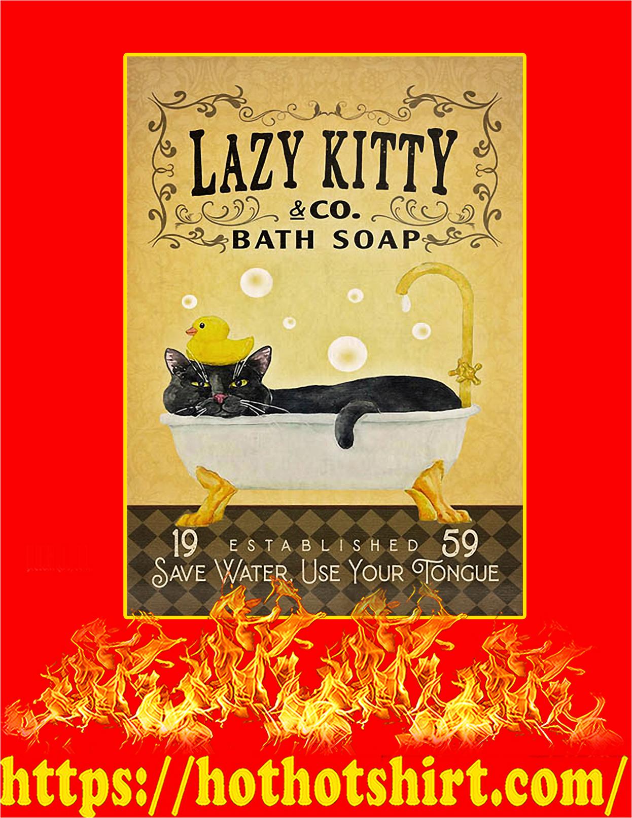 Bath soap company lazy kitty poster - A4