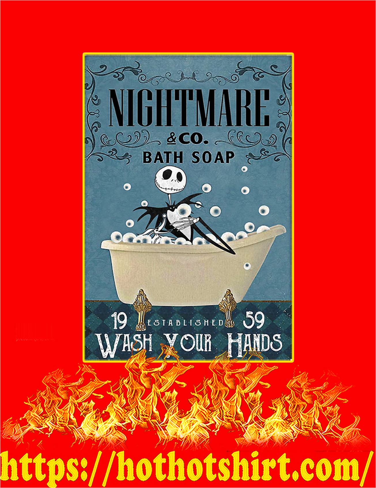 Bath soap company nightmare wash your hands poster - A3