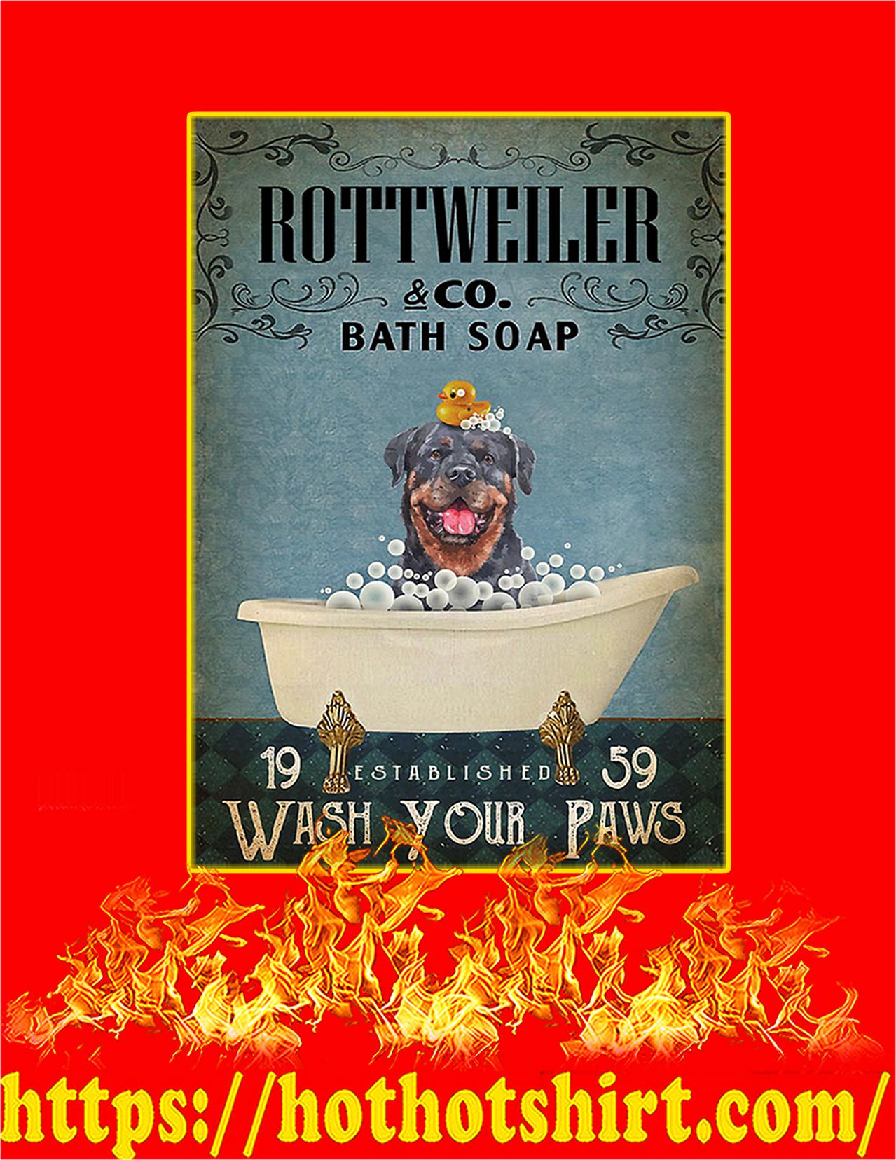 Bath soap company rottweiler poster - A2