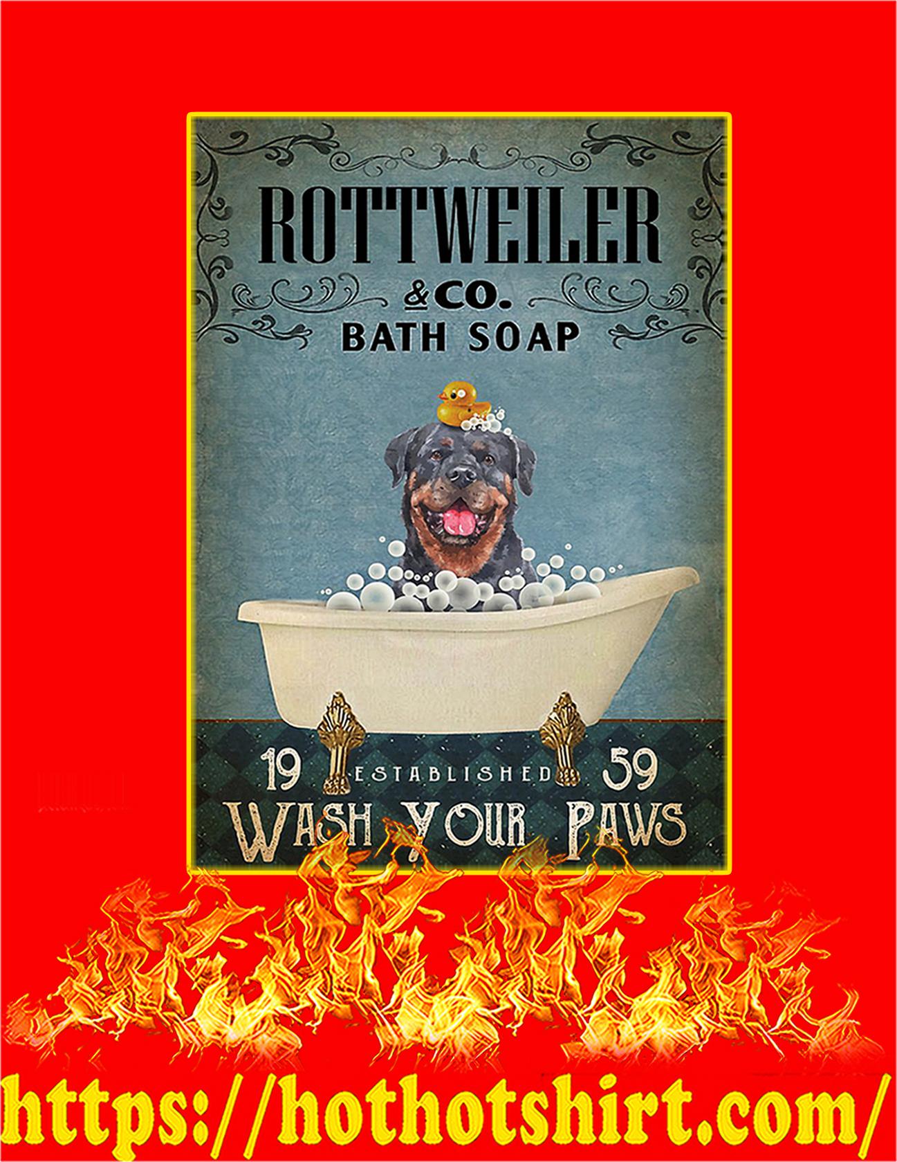 Bath soap company rottweiler poster - A3