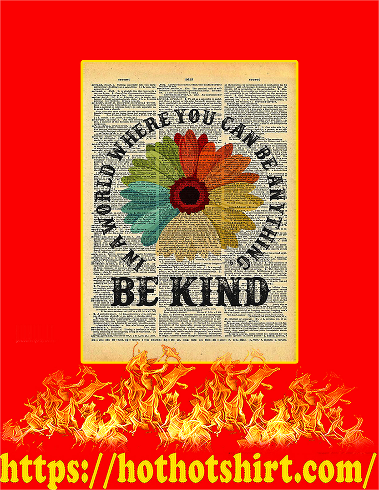 Be Kind Daisy Dictionary Poster - A4