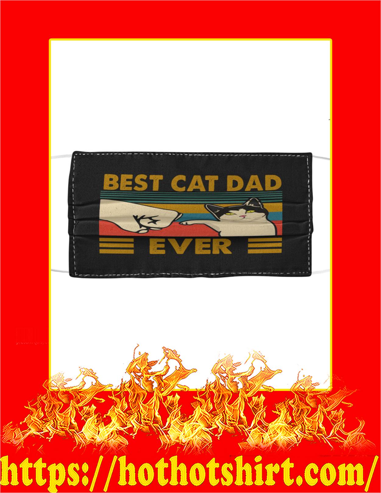 Best cat dad ever face mask - Black