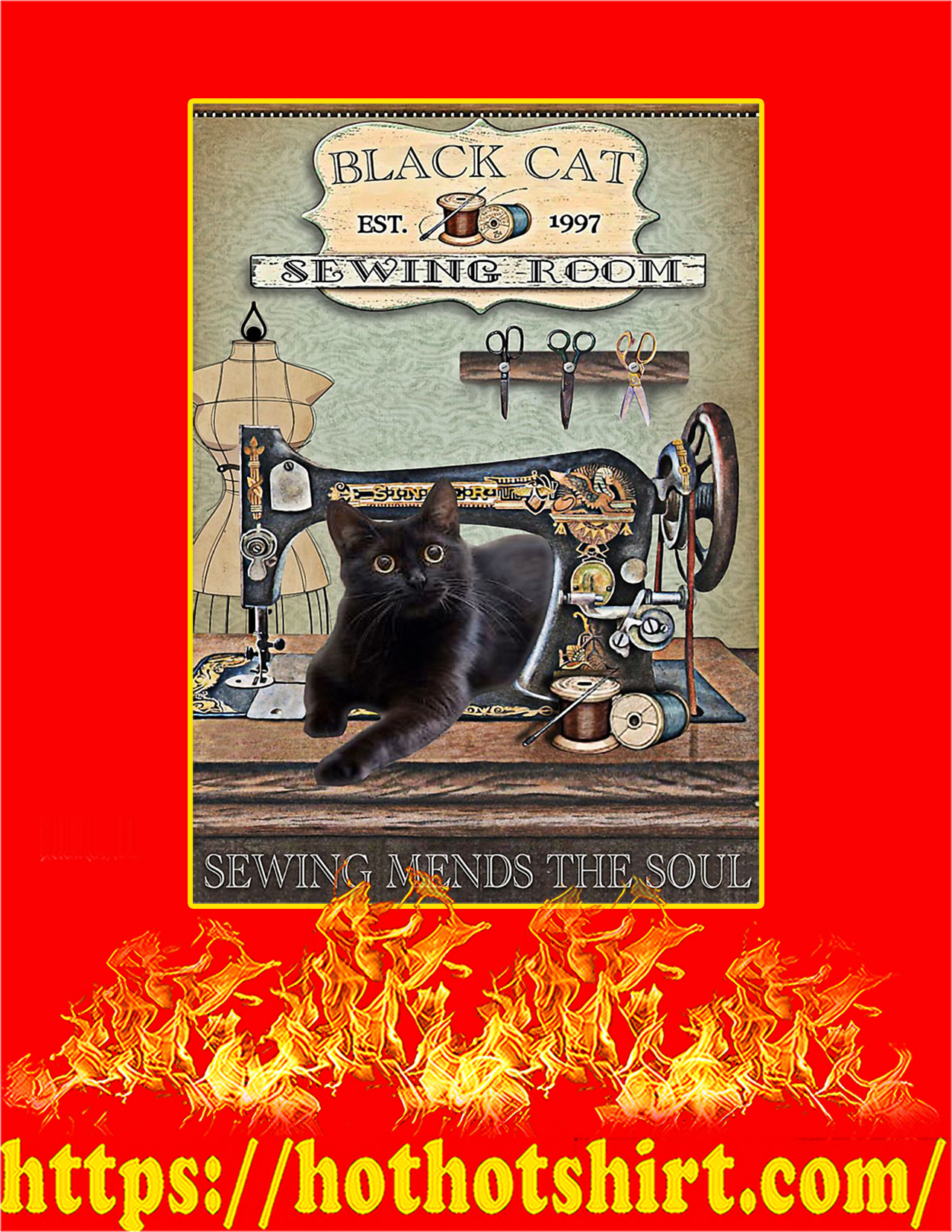 Black Cat Sewing Room Sewing Mends The Soul Poster - A4
