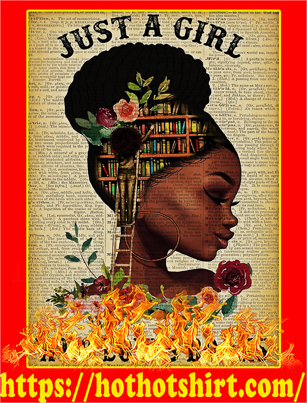 Black Girl Just A Girl Who Loves Books Poster - A3
