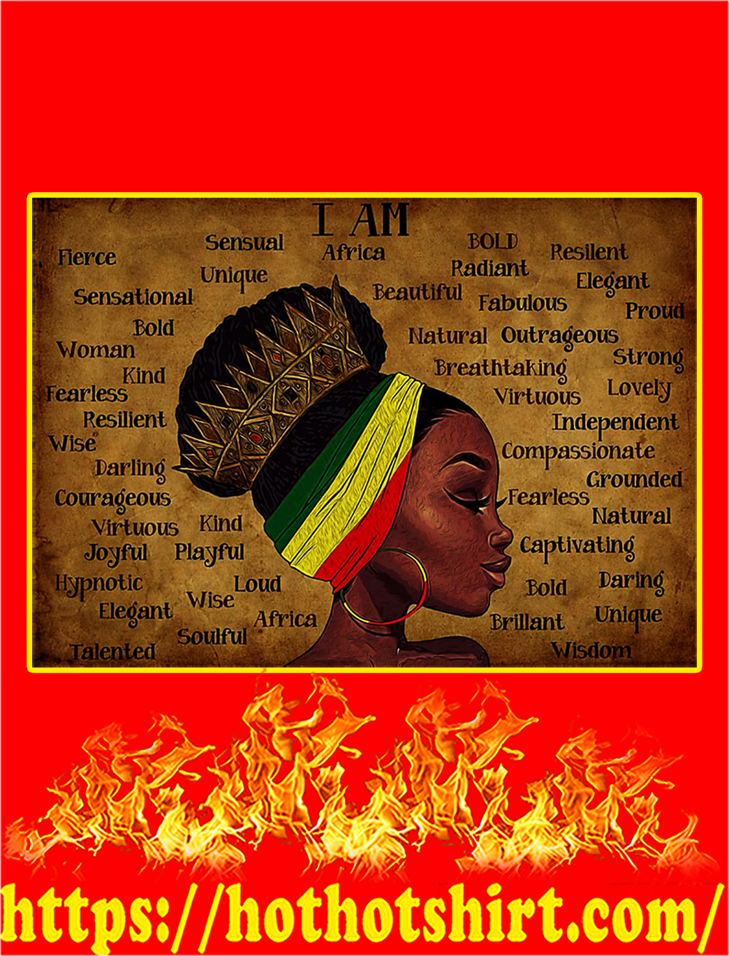 Black Queen I am africa poster - A1