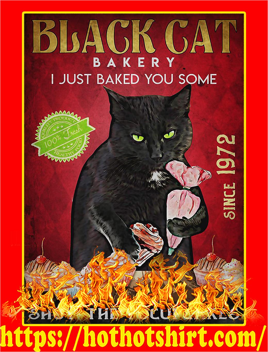 Black cat bakery shut the fucupcakes poster - A2